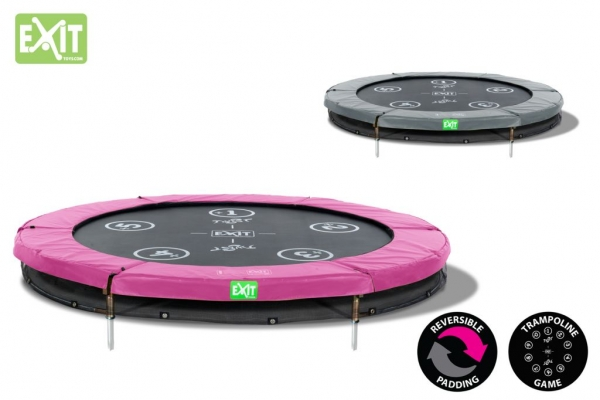 Trampolin EXIT Twist Ground 244 cm Rosa/Grau